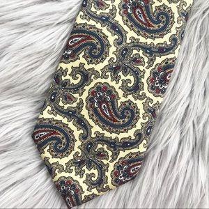 Liberty of London Pale Yellow Paisley Silk Tie